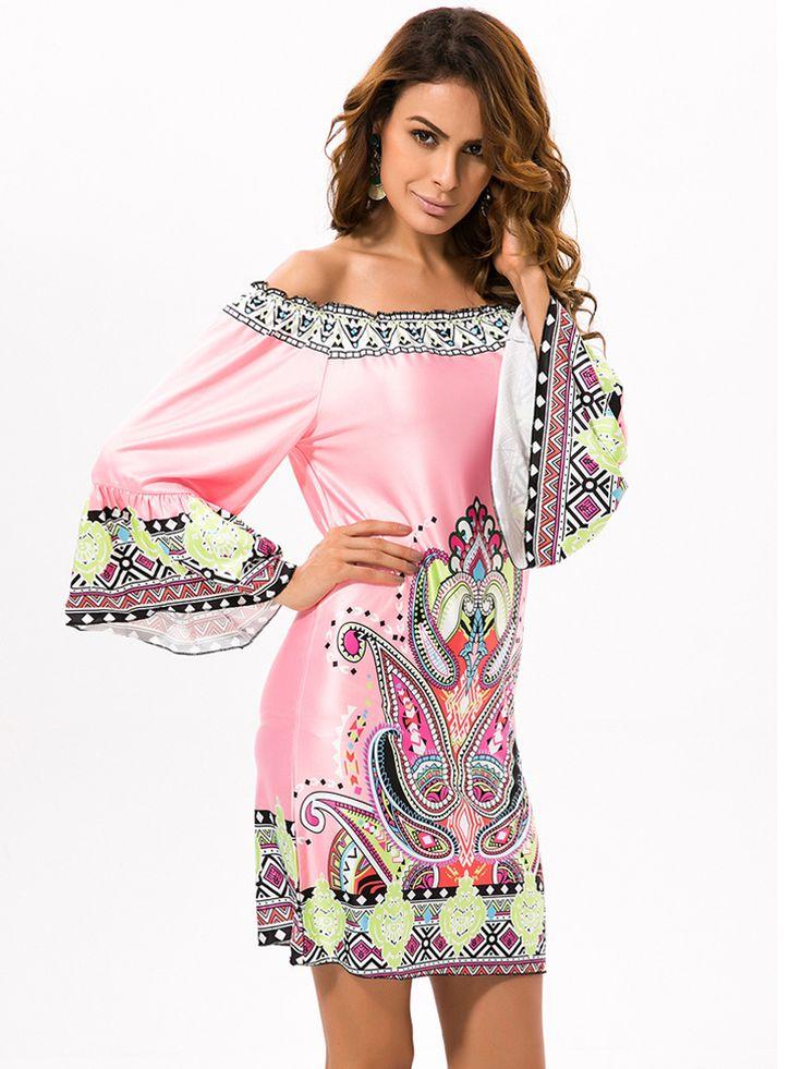 Gracila Women Ethnic Printed Off Shoulder Long Sleeve Beach Mini Dresses