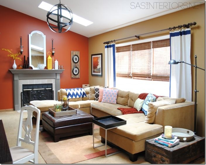 Feature friday sas interiors living room color designs - Burnt orange feature wall living room ...