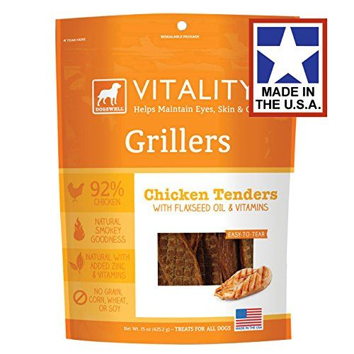 Vitality Chicken Grillers Dogswell Dog Treat, 15-Ounce. Vitality Grillers Chicken, Tender, Mouth-Watering, Premium Meat Treats That Are Easy To Portion And Take On The Go. Item Dimensions: width: 800, height: 1025 hundredths-inches. 100% USA-sourced chicken. Soft and easy to tear. Protein-rich treats with a natural smokey goodness. Size: 15oz. With Flaxseed and Vitamins A & E.