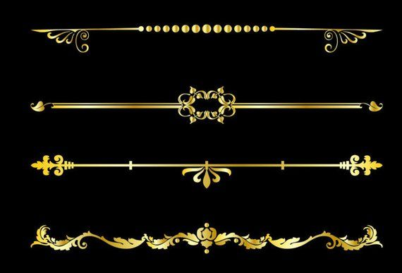 Gold Decorative Text Dividers Clipart Text Divider Vector Etsy In 2021 Gold Design Background Gold Text Divider Clipart