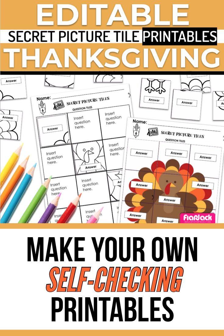 Thanksgiving Editable Secret Picture Tile Printables Word Problems Thanksgiving Worksheets Math Skills [ 1102 x 735 Pixel ]