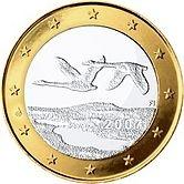 1 euro -Finlandia: due cigni in volo. Autore: Pertti Mäkinen.