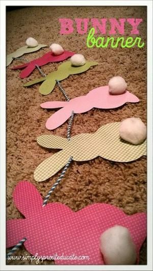 Printable Bunny Banner: make this adorable Easter craft for kids with any paper you like, and it works up in no time at all. The Printable Bunny Banner is the cutest DIY garland you'll find for springtime, so don't wait another minute to create it! You could even use the free printable template to make coloring pages for kids so that they can decorate their own bunnies. Age Group: Preschool & Kindergarten, Elementary School, Pre-Teens, Teens. by Lesliemarch