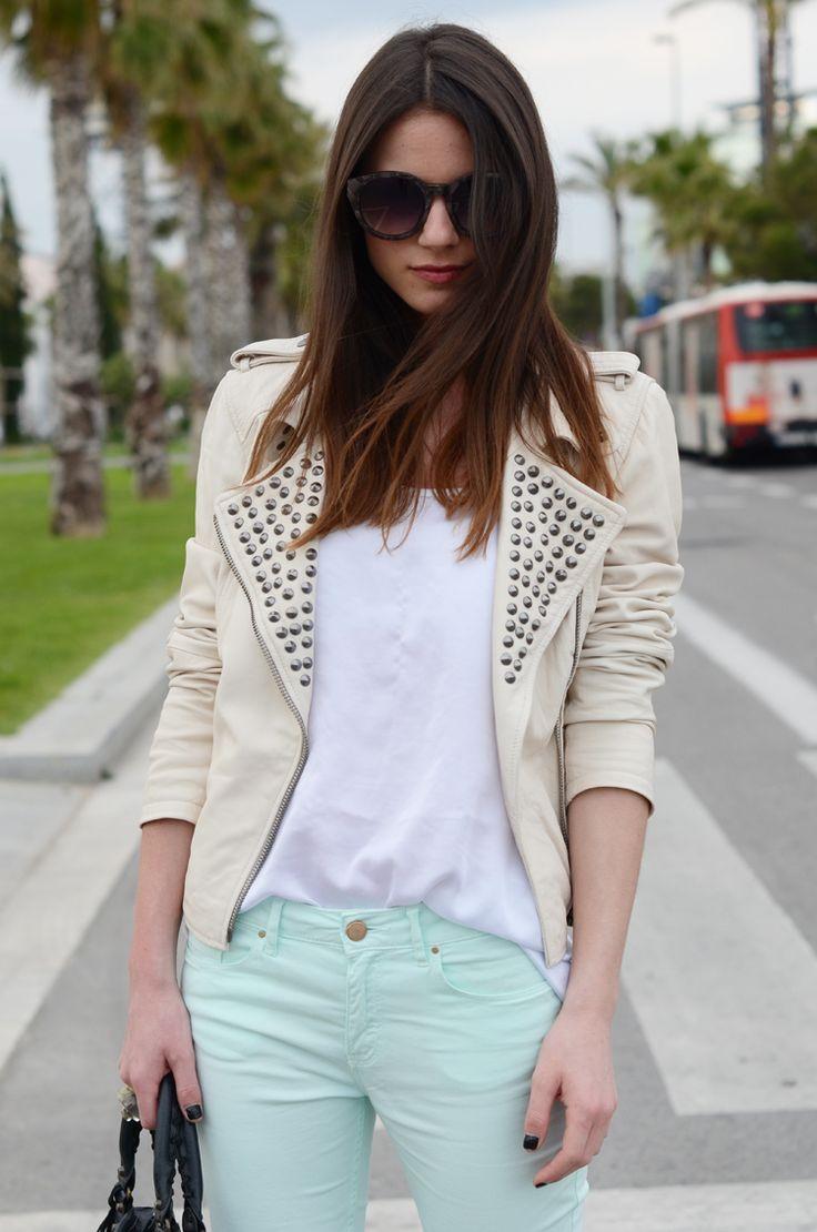 channeling the inner rocker: Mint Pants, Fashion Style, Blue Pants, Studs Jackets, White Leather, Mint Jeans, Leather Jackets, Louis Vuitton Handbags, Fashion Bloggers