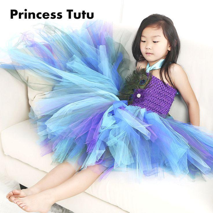 Free Shipping Purple Girl Puffy Feather Peacock Tutu Dress Children Kids Knee Length noble Elegant Flower Girls Pearls Dresses
