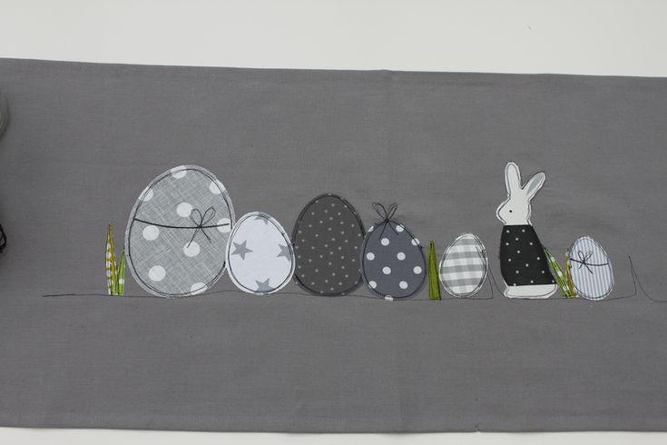 Ostertischdeko - Oster-Tischläufer ♥WiR♥OsTERN♥ In grau oder weiß - ein Designerstück von milla-louise bei DaWanda
