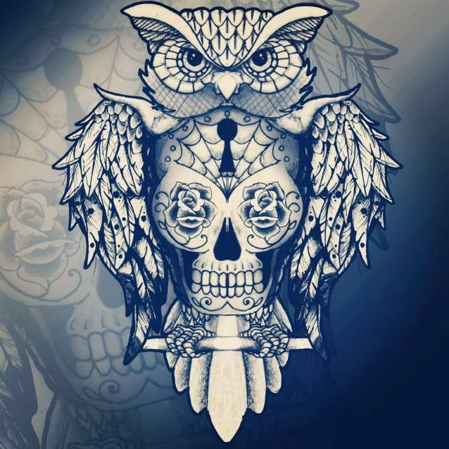 I really like this owl tat with a day of the dead skull in the middle!!