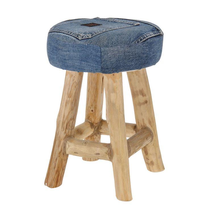 Trendy krukje op 4 houten poten. De zitting is bekleed met spijkerstof voor een unieke look. Afmeting: Ø 30 x 42 cm - Kruk Teak Jeans