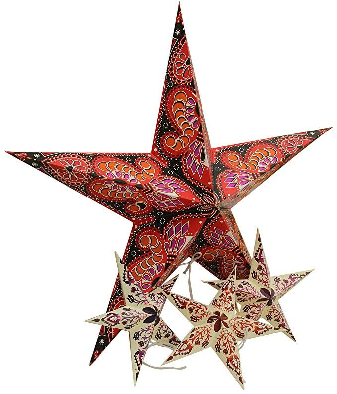 Party Decor Pack Of 4 Crafkart Paper Star Lantern Lampshade 21 X 21 X 8 Inches 4 Pack 3d Paper Star Pentagram 3d Paper Star Hanging Decor Paper Stars
