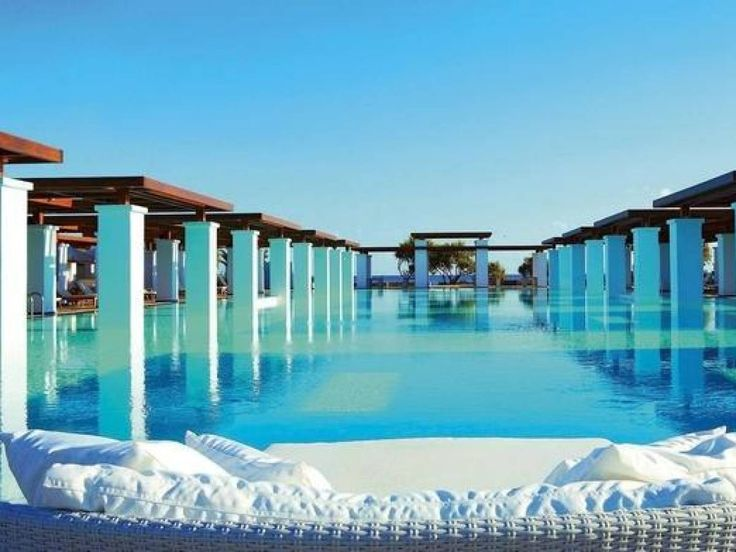 The private suites, Amirandes Grecotel Exclusive Resort, Greece. The pool is Olympic size and built in the style of Minoan palaces to pay homage to early Crete civilizations.