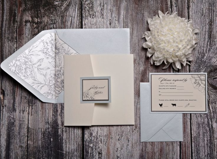 Shelby invitation (cream pocketfold wedding invitation with pale green and grey accents) - SAMPLE by UptownDesignsCanada on Etsy