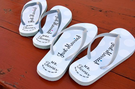 Just Married Personalized Flip Flops Polka by PaperSoPrettyGifts