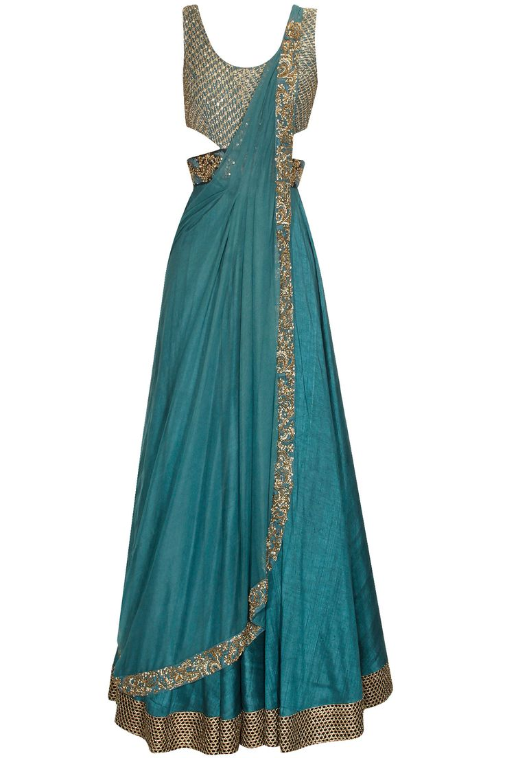 Teal blue dabka and sequins embroidered cowl drape anarkali suit available only at Pernia's Pop Up Shop.