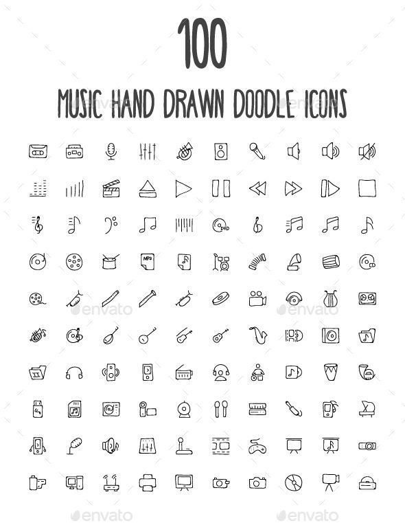 100 music hand drawn doodle icons, #doodle #drawn #icons #music