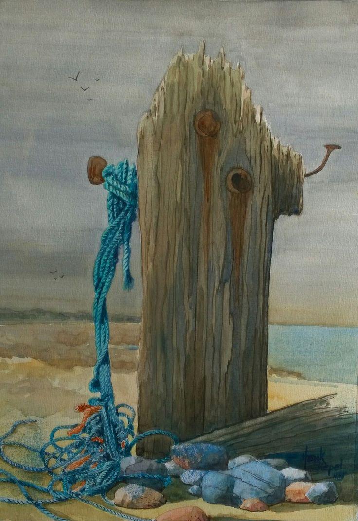 Strandpaal. Aquarel watercolor by Henk Siepel