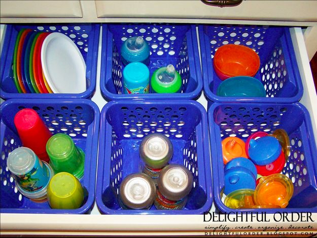 Keep sippy cups organized using dollar-store baskets. | 41 Dollar-Store Hacks Every Parent Should Know About