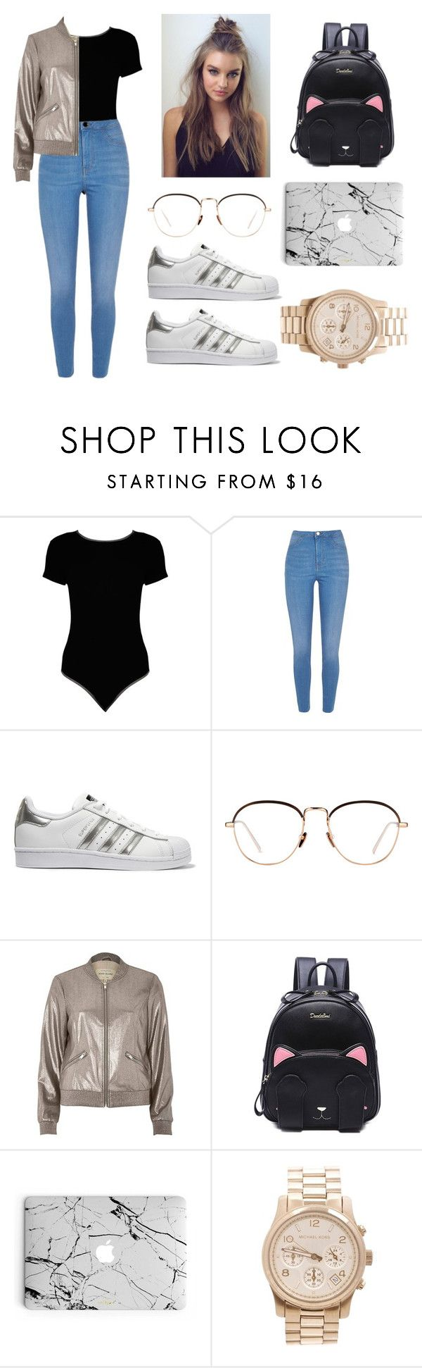 """Untitled #184"" by welcome-to-newyork on Polyvore featuring Boohoo, River Island, adidas Originals, Linda Farrow and Michael Kors"