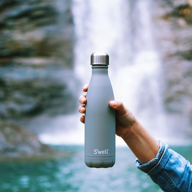 our smokey quartz durable grey water bottle is coated for a stonelike texture to add grip while it keeps your drinks cold for 24 hours or hot for - Swell Waterbottle