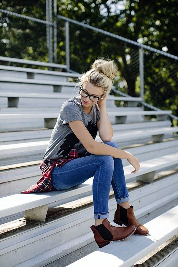 Plaid, bun, glasses, graphic tee, ripped jeans and booties ♡♡♡