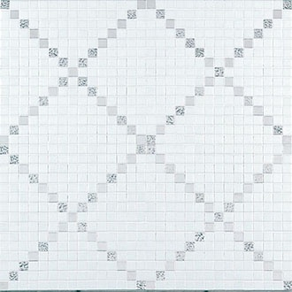 Bisazza Rete Oro (white and silver) mosaic pattern for freestanding wall seperating shower and bathtub