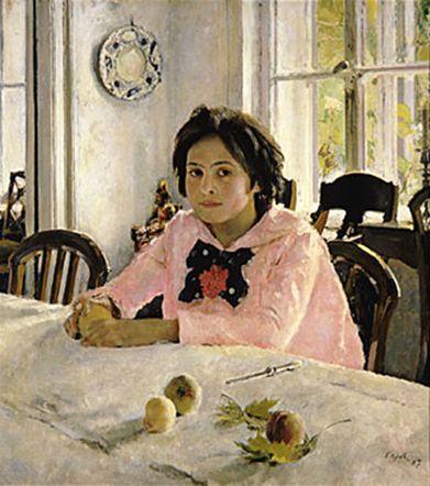 발렌틴 세로프, 복숭아와 소녀, 베라 마몬토바의 초상, 1887 아브람체보파 소녀를 어린 시절부터 잘 알고 있음 소박한 그녀의 표정에는 어린 시절의 때 묻지 않은 행복감과 청춘의 설렘이 그대로 담겨있음.  인상주의
