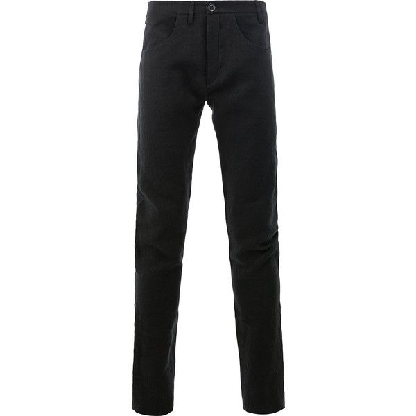 Label Under Construction straight trousers ($1,020) ❤ liked on Polyvore featuring men's fashion, men's clothing, men's pants, men's casual pants, black and label under construction