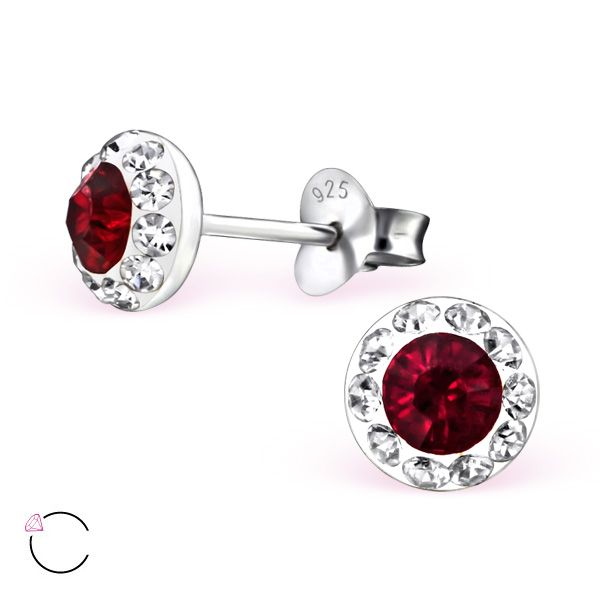 Deep red colored silver stud earrings with Swarovski crystals (light siam). #Wholesale price: $2.82US for pair.