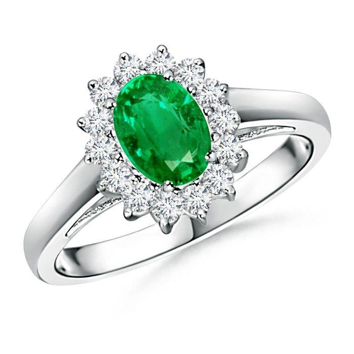 Angara Diamond Encrusted Ribbon Shank Emerald Halo Ring in Platinum z1PlQaKBn6