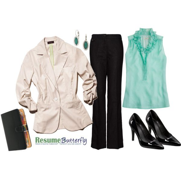 """""""Job Interview Outfit - Business Casual - ResumeButterfly.com"""" by getsnazzy on Polyvore"""