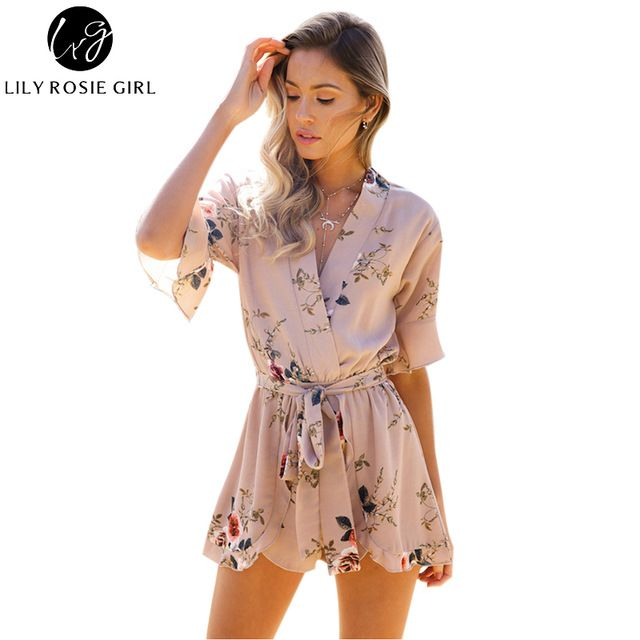For Sale $13.99, Buy Boho Red Floral Print Ruffles Playsuits Women Elegant Autumn White V Neck Jumpsuits Rompers Sexy Beach Girls Short Overalls