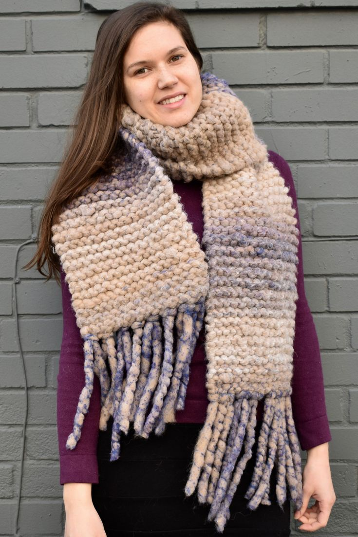 Extra thick, soft, and warm blanket scarf. This oversized knitted scarf will keep you warm even on the coldest winter day. Made with ethically sourced, Canadian alpaca wool (90%) and bamboo (10%) and dyed with low acid dyes. One of a kind and hand-knit in Toronto. ($135.00 CAD)