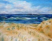Tableau de bord de mer, Plage de Biscarrosse-Plage : Peintures par peintures-axelle-bosler