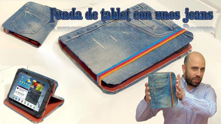 Funda de tablet utilizando unos jeans. DIY Reciclando cartón y unos vaqu...