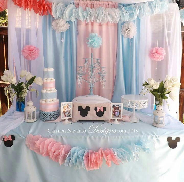 Minnie & mickey baby shower. Twins! Pink & blue, carmennavarrodesigns