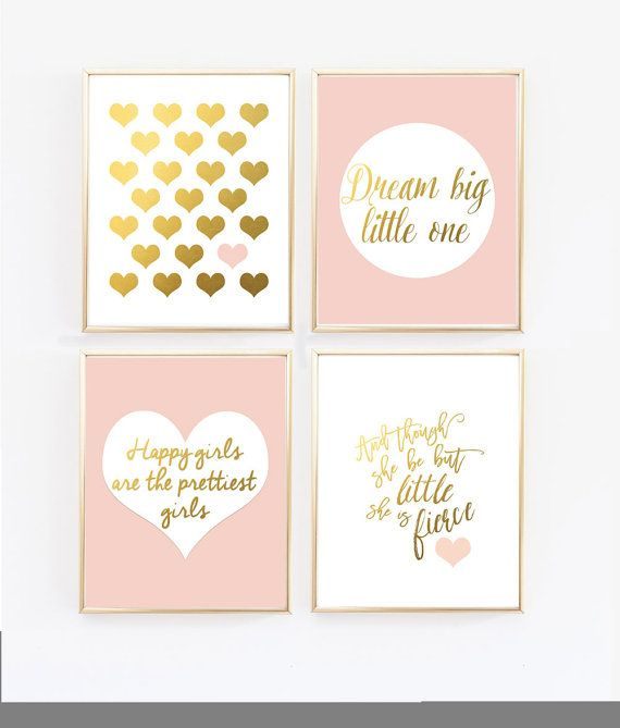 Pink Nursery Art Blush and Gold Prints And by wallandwonder
