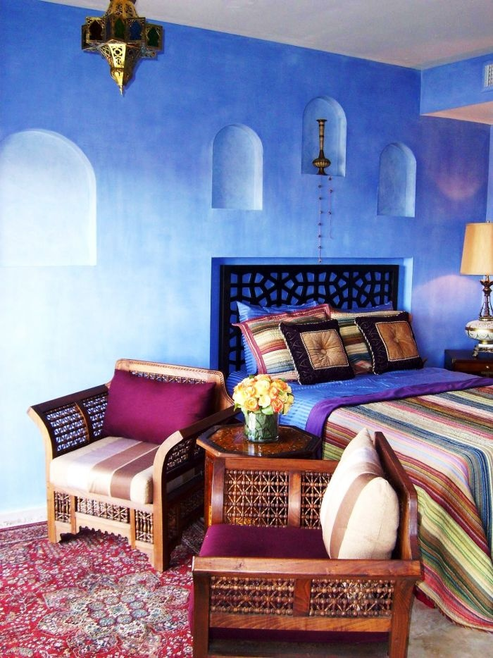 Inspiring 66 Mysterious Moroccan Bedroom Designs: 66 Mysterious Moroccan  Bedroom Designs With Blue Bedroom Wall Bed Pilloe Blanket Nightstand And  Purple ...
