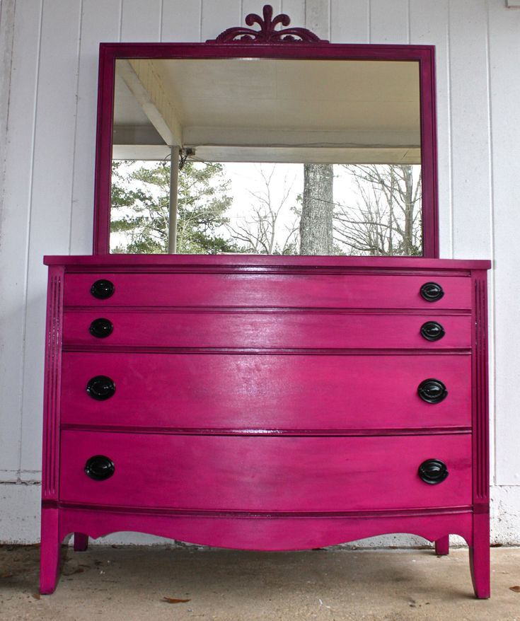 I really like this color...Pink Vintage Dresser with Mirror /Girl Bedroom Decor /Magenta /Black Drawer Pulls /Storage /Antique Painted Bright Furniture /. $425.00, via Etsy.