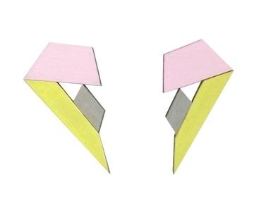 Tangram Stud - Yellow, Pink & Silver