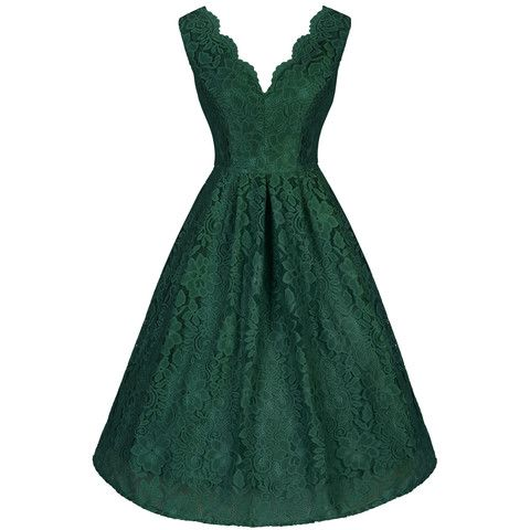 Emerald Green Lace Embroidered Dress