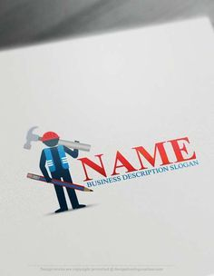 Create a logo Free - Free Logo Maker - Constructor Logo Template Readymade Constructor Logo Templatedecorated with a working man who holds Builder tools. Construction Logos suitable for Construction Company, professional Builder, Construction Company and Holdings etc.  How to design free logo online? 1- Customize This logo with our free logo maker tool -Change you company name,