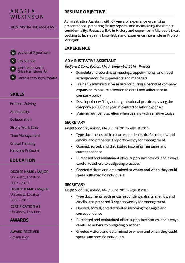 Clean Purple Resume RG Modern resume template free