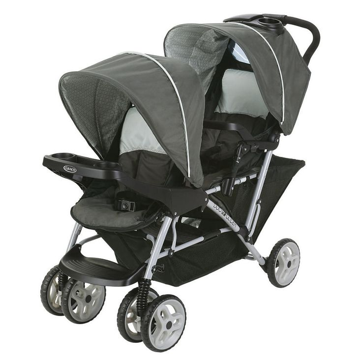 Comfy adventures for two, plus you! The DuoGlider™ Click Connect™ Double Stroller has all the essentials a growing family needs. This Double Stroller features stadium-style seating so that the child sitting in the rear is slightly raised for a better view. To keep both passengers nice and comfy, both seats feature a multi-position recline, child's trays, rotating canopies, and footrests. And for Mom, a one-hand fold, extra large storage basket, and parent's tray with...