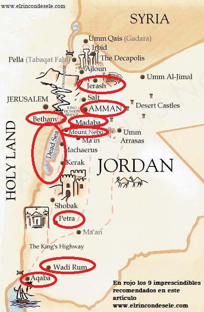 Mapa de Jordania con los lugares imprescindibles que ver señalados en rojo