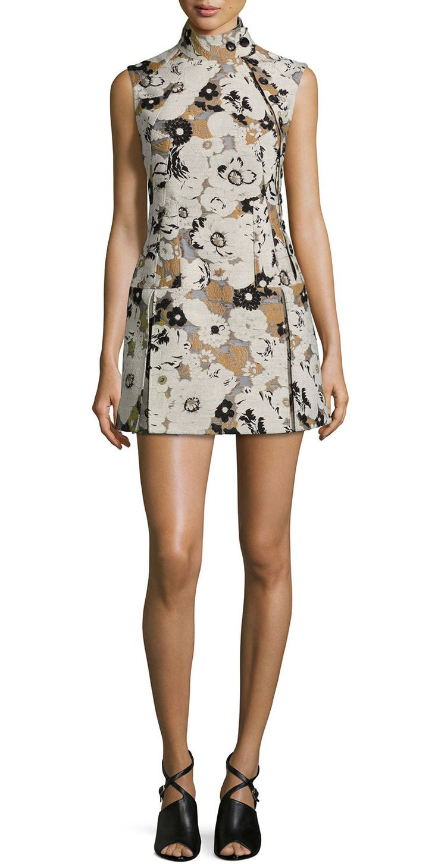 Fashion Print Women Sheath Dress Novelty Stand Collar Sleeveless Dresses 15100814B1