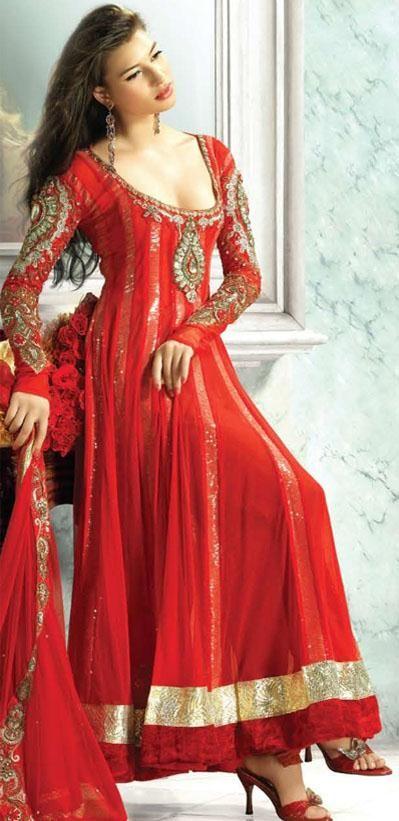 $155.89 Red Full Sleeve Georgette Long Anarkali Salwar Kameez 18776