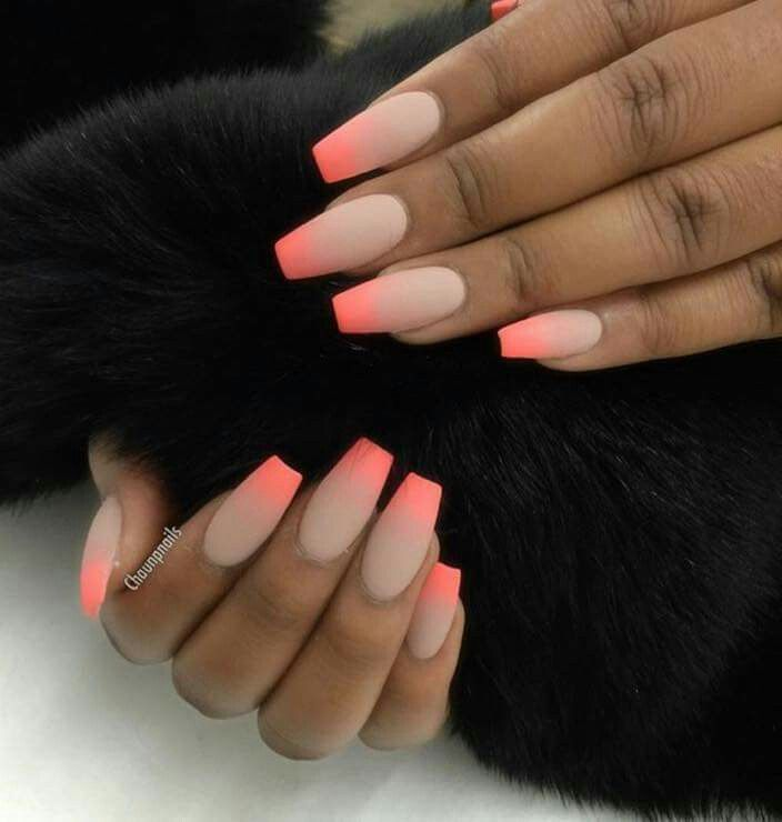 Neon orange ombré ballet shoe tip nails