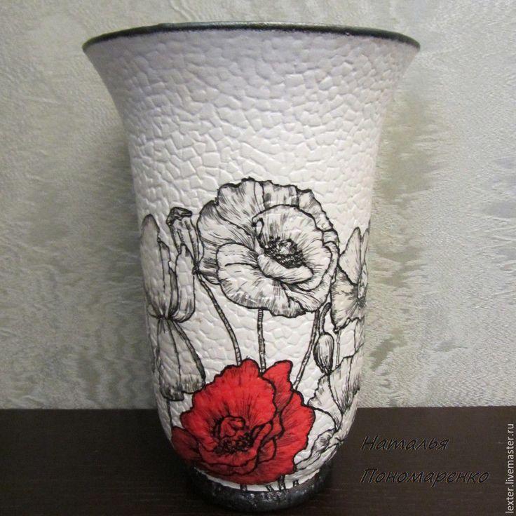 Купить Вазы ручной работы. Стеклянная ваза Красный мак - чёрно-белый, цветочная композиция
