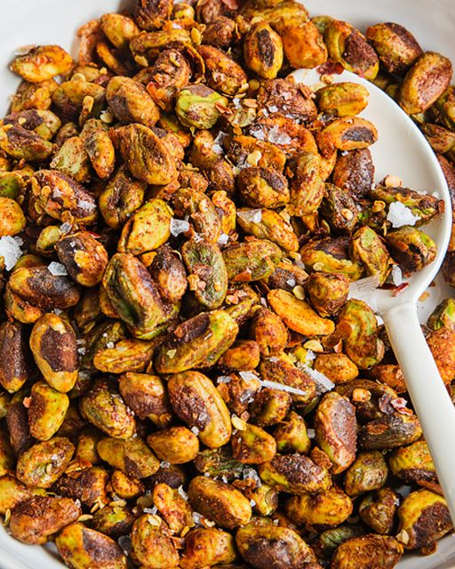 Spiced nuts are always a hit in my house. I often use mixed nuts, but if I really want to make it special, I grab pistachios! They're naturally festive, especially when dressed up with my Chili & Paprika Spice Mix.