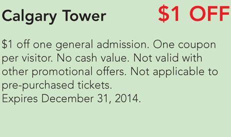 Calgary tower coupon