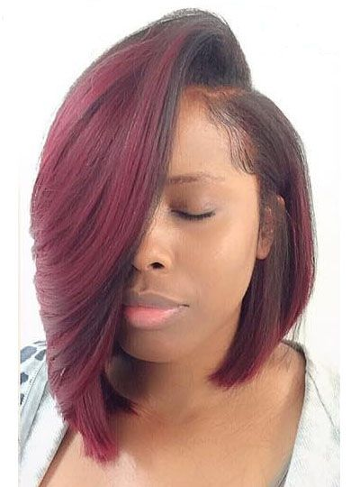 Full Lace Wigs Lace Front Wigs Lace Wigs @ RPGSHOW Dramatic Claret Red BOB Lace Front Wig - BOB003-s [BOB003] - hair color: #2/#99J hair length: left 10 inches, right 13 inches